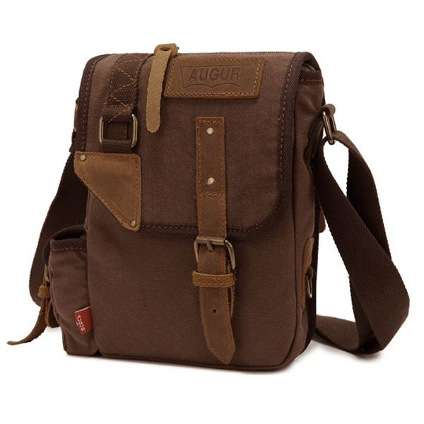 Augur Men's Vintage Genuine Leather Canvas Leisure Shoulder Bag Crossbody Bag - US$25.95