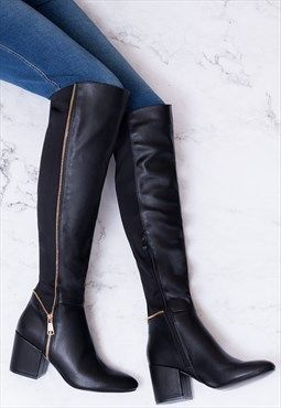 f3d2f1970 EAGLEY Block Heel Knee High Tall Boots - Black Leather Style