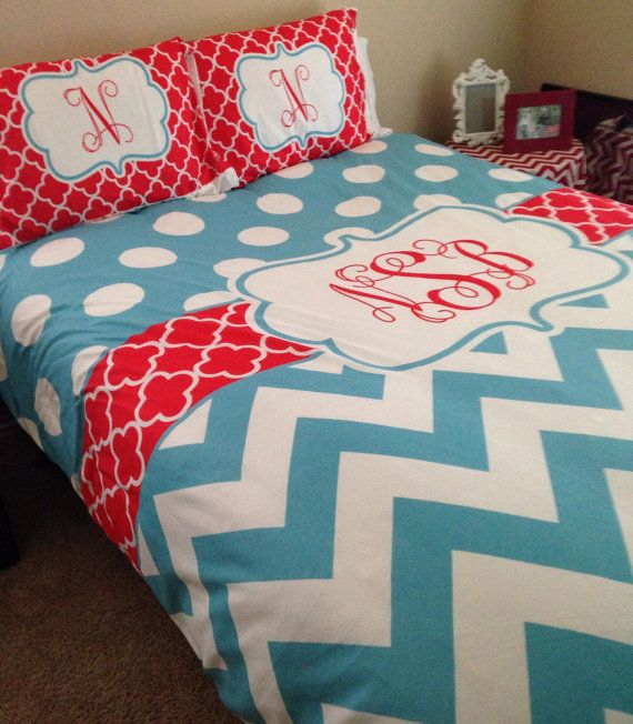 Polka dot Chevron & Clover  Bedding  Turquoise by PAMPERYOURSTYLE, $139.00 Turquoise and Red Bedroom College Bedding Teen Bedroom Design ideas for girl