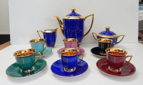 Czech Art Deco Porcelain Demitasse Coffee Tea Set Rkg Rgk