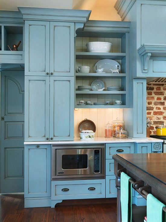Blue Glazed Cottage kitchen, brick backsplash wood island...