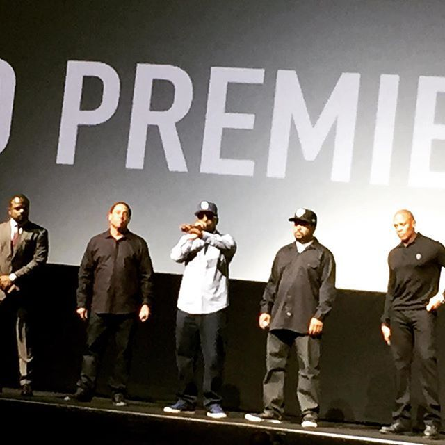 The legendary surviving members of #NWA #DJYella  #MCRen #IceCube and #Dr. Dre with Director #FGaryGrey at the #StraightOuttaCompton World Premier minus the late #Eazy-E (R.I.P)...you would have loved it Eazy!! by ednasimsesppr