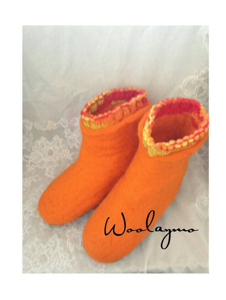Felted Slippers Felted wool slippers for women Felted Home shoes Boiled wool slippers with sole Felted boots for Girls Felt slippers boots by WoolayMo on Etsy