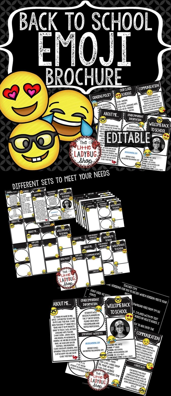 Back to School Brochure ~ Back to School Pamphlet EMOJI Theme is perfect for your busiest time of the year! This perfect and easy tool is a wonderful way for parents to get to know All About YOU and your Classroom Information. Your parents and students will walk away getting a glimpse about you and their new school year!