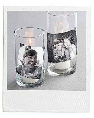 Polaroid Photo Candles    Light up faces with candid candles as your centerpiece. Use photo corners to secure snapshots to the outside of glass candleholders