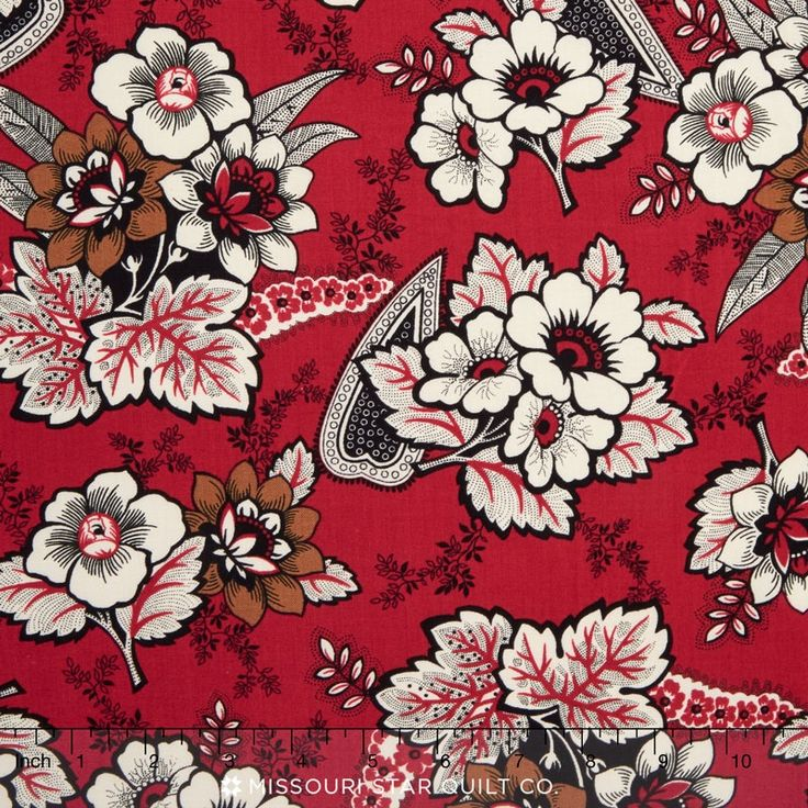 Carmen - Floral Paisley Red by Nancy Gere. Dark outlines, white figures, madder red ground-CivilWar