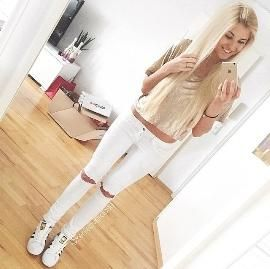 Adidas Superstar White With Jeans