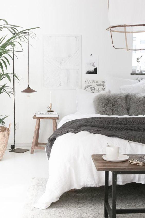 chambre zen blanche avec plante d'intérieur