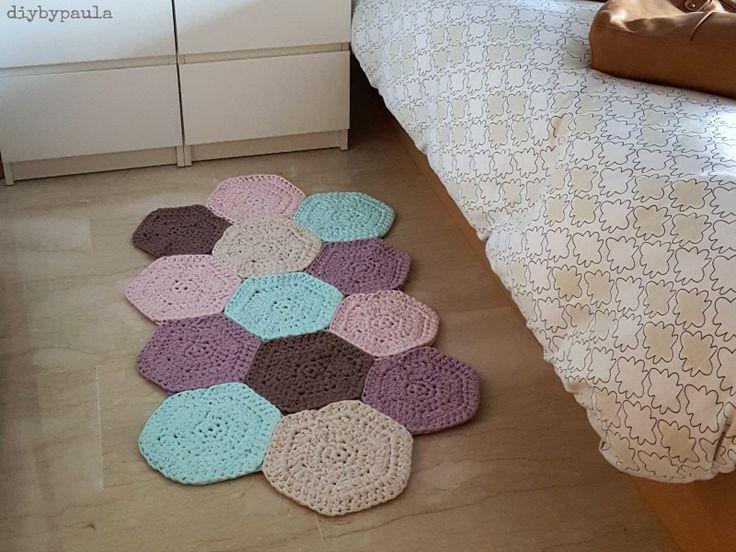 Tutorial paso a paso para hacer una alfombra,camino de mesa o mantel con muestras de hexagonos multiforma
