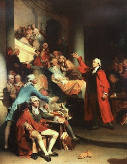 "Patrick Henry before the House of Burgesses on March 23, 1775, in Saint John's Church in Richmond, Virginia.. ""Give me Liberty, or give me Death!"""