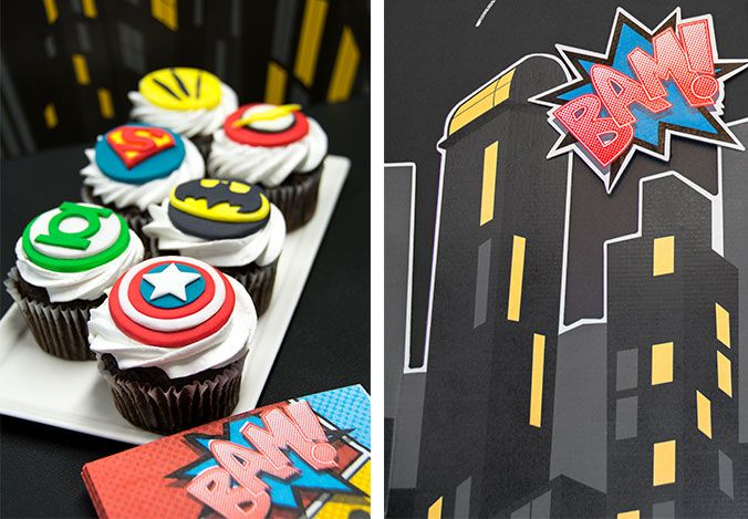 Superheroes vs. Villains Halloween Party Theme. Everyone loves superhero cupcakes! For our table, we chose Green Lantern, Captain America, Superman, Batman, Wolverine, and the Flash. #partyideas #Halloween #OrangeTuesday