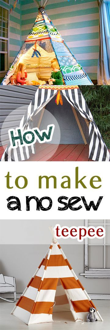 How Cool! How to Make a No Sew Teepee. What an easy diy project my kids will LOVE!