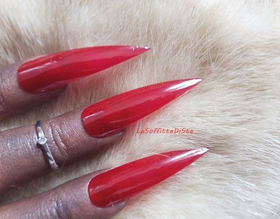 red medium long stiletto nails costume vampire halloween wag