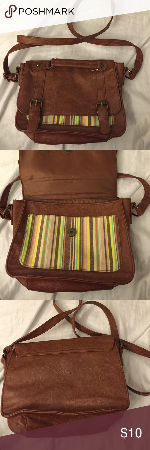 Colorful crossbody bag Small brown crossbody bag with colorful striped details. Mudd Bags Crossbody Bags