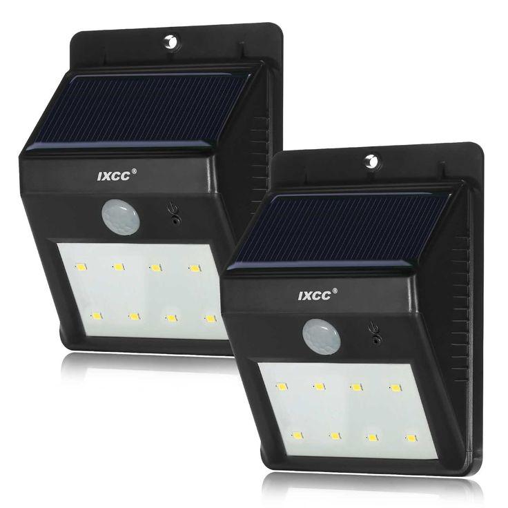 Solar Lights, iXCC 8 LED Adjustable Wireless Outdoor Waterproof Solar Powered Motion Sensor Night Light - 2 Packs