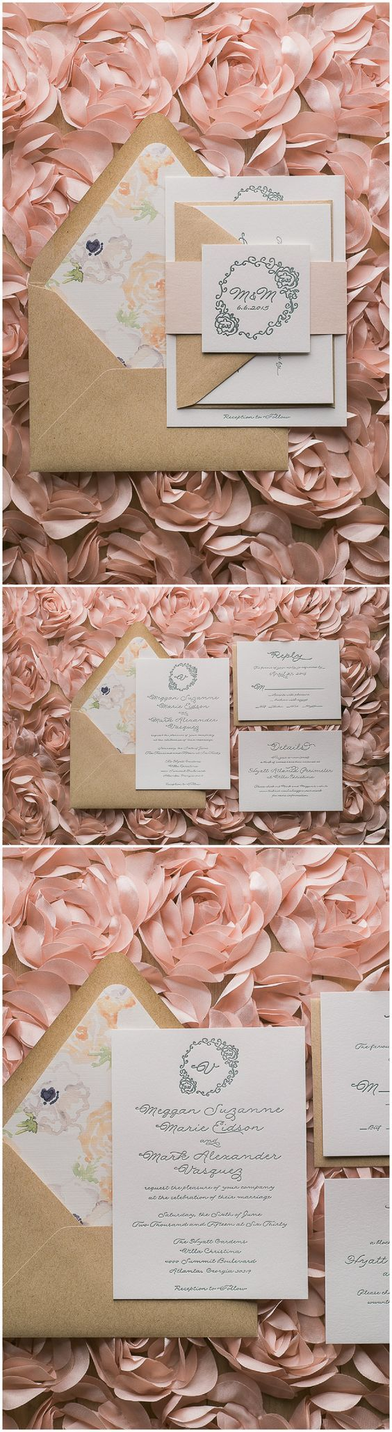 Blush and Kraft Floral Wedding Invitations, Letterpress Wedding Invitations