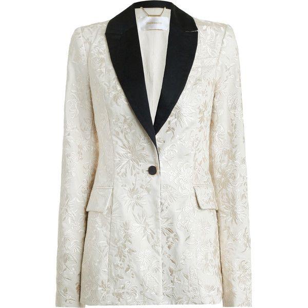 ZIMMERMANN Maples Embroidered Jacket (72.195 RUB) via Polyvore featuring outerwear, jackets, blazer jacket, cotton blazer, embroidered blazer, shoulder pad blazer и long sleeve blazer
