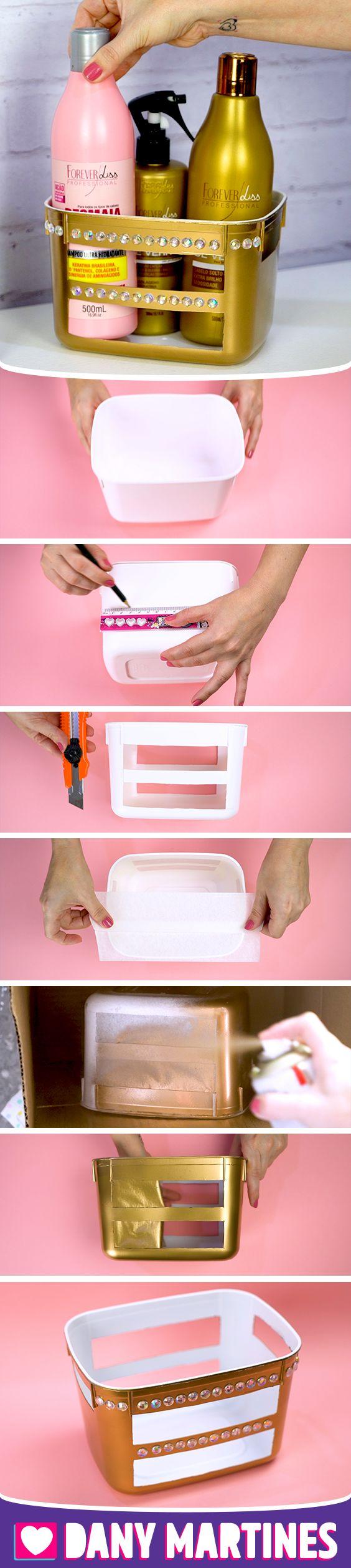 Faça você mesmo um organizador reutilizando um pote de sorvete, passo a passo, DIY, Do it yourself, lixo ao luxo, reciclagem, reaproveitando embalagens, Dany Martines