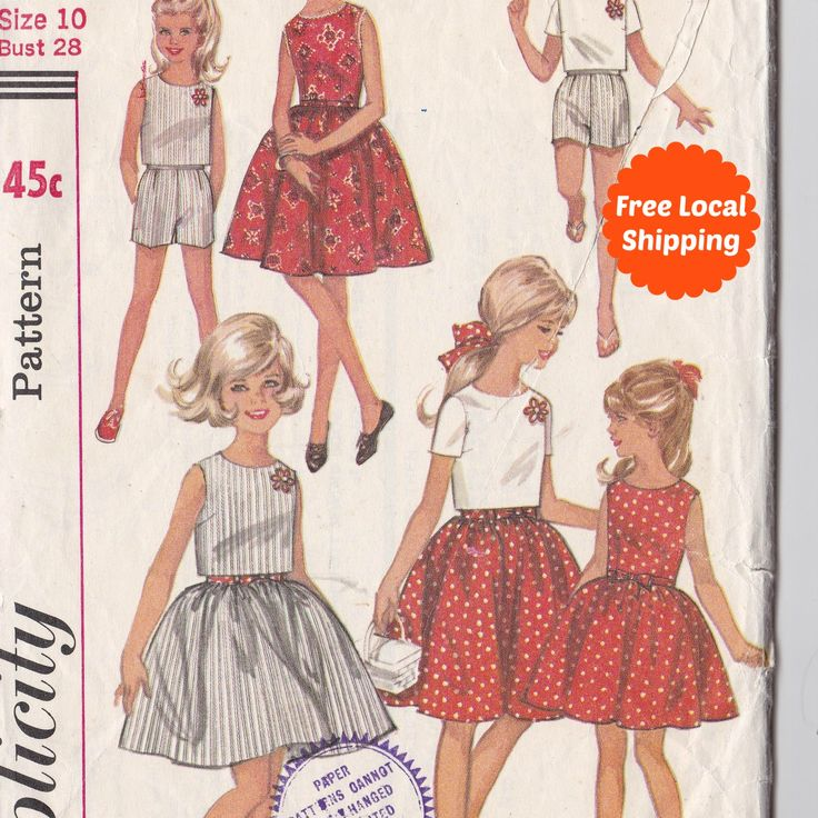 Sewing Patterns for Girls Full Skirt Sleeveless Summer Dress, Short Sleeve Top and Shorts Simplicity Patterns Simplicity 5993 Free Shipping by PatternsFromOz on Etsy