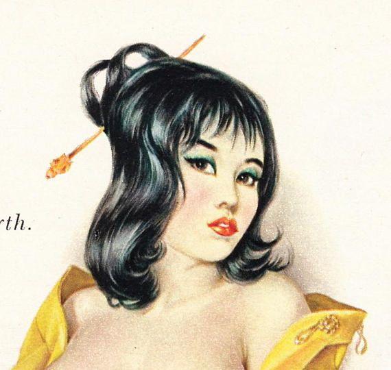 "Original Vargas Girl Pin-Up November 1964 Vintage Playboy Nude Mature Art ""I said I was inscrutable"""