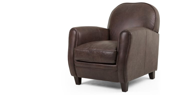 Jeffrey Armchair, Saddle Brown Premium Leather