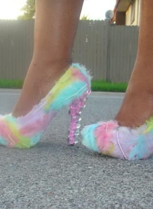OMG...just had to repin this! lol I for one could never wear them...would break my ankle for sure! But they are just super cute!