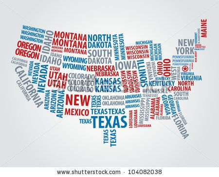USA word cloud map by Alan Uster, via ShutterStock