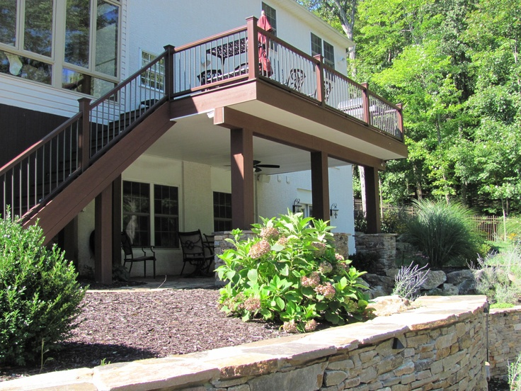 1000 images about outdoor living spaces on pinterest for Deck ideas above walkout basement