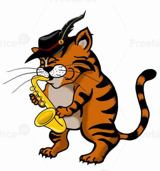 Растровая графика Кот играет на саксофоне., Freelance.Discount