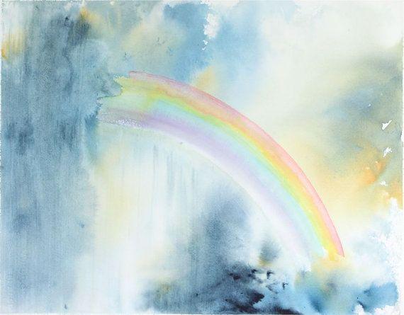 Free Photo Watercolors Rainbow Colors Lilac: Rainbow Painting, Original Watercolor Painting Rainbow
