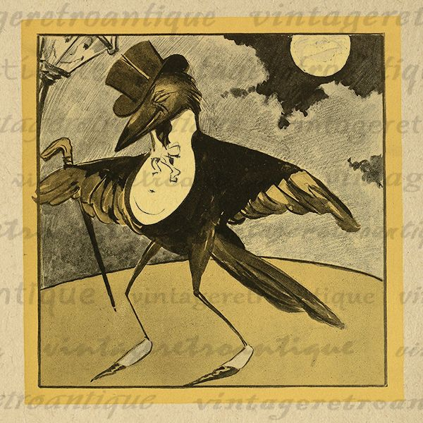 Digital Cartoon Bird in Suit and Top Hat Image Printable Graphic Download Vintage Clip Art Print 300dpi No.1784 @ vintageretroantique.com #DigitalArt #Printable #Art #VintageRetroAntique #Digital #Clipart #Download #Vintage #Antique #Image #Illustration