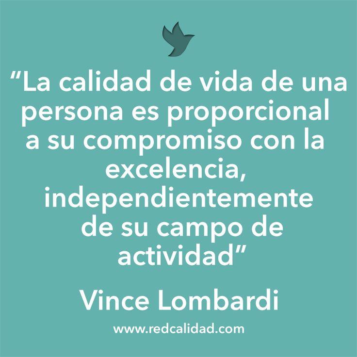 'La calidad de vida de una persona es proporcional a su compromiso con la excelencia, independientemente de su campo de actividad'  Vince Lombardi