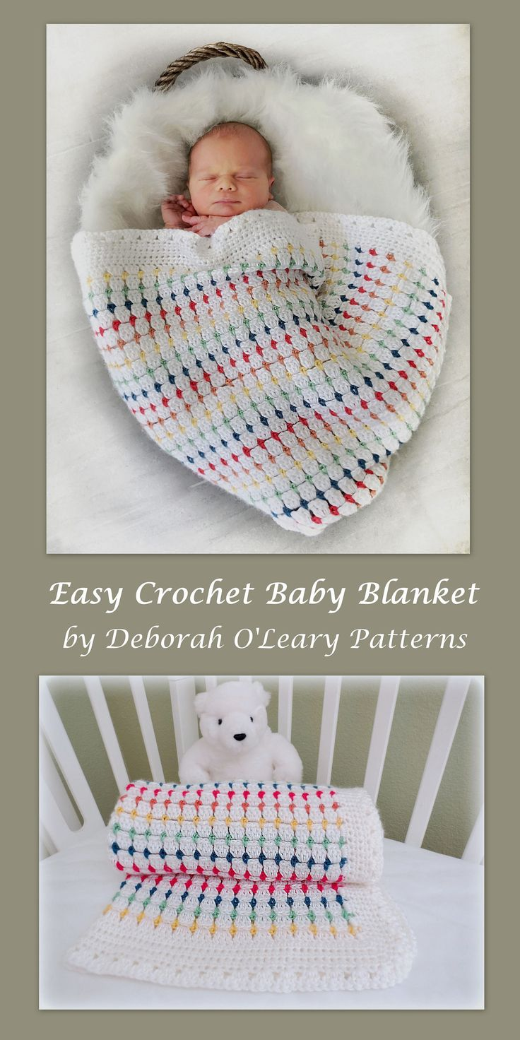 This listing is for a CROCHET PATTERN - Little Jewels Baby Blanket - NOT a finished product. Crochet baby blanket pattern that has endless color possibilities and 2 border patterns for you to choose from. This beautiful baby afghan is very EASY to make. Cute jewels of color and