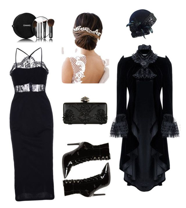 """""""Black. Попытка создать образ в стиле модерн"""" by younger26 ❤ liked on Polyvore featuring Adolfo, Jeffrey Campbell, Alexander McQueen, Chanel and Brides & Hairpins"""