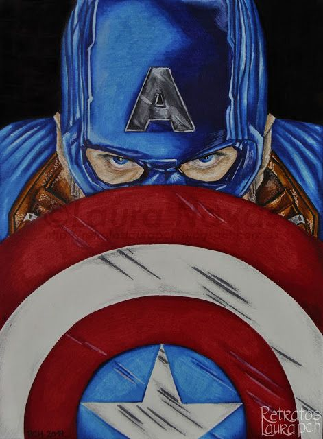 Retratos Laura pCh: Capitán América STEVE ROGERS Actor, Chris Evans  Rotulador y lápices de color