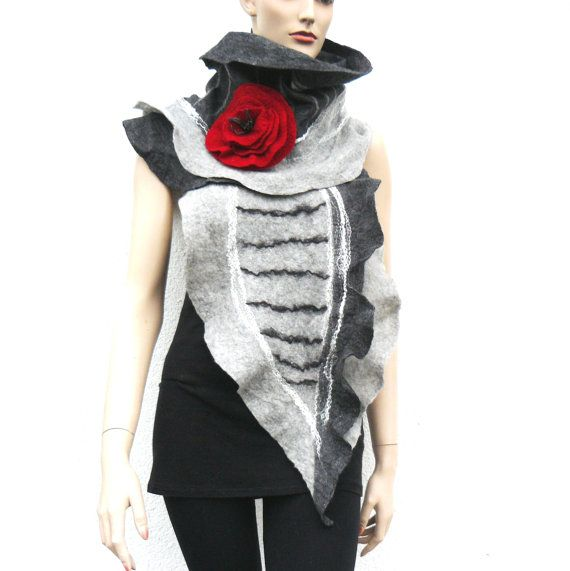 Felted Scarf merino wool silk Hand made felting by MajorLaura