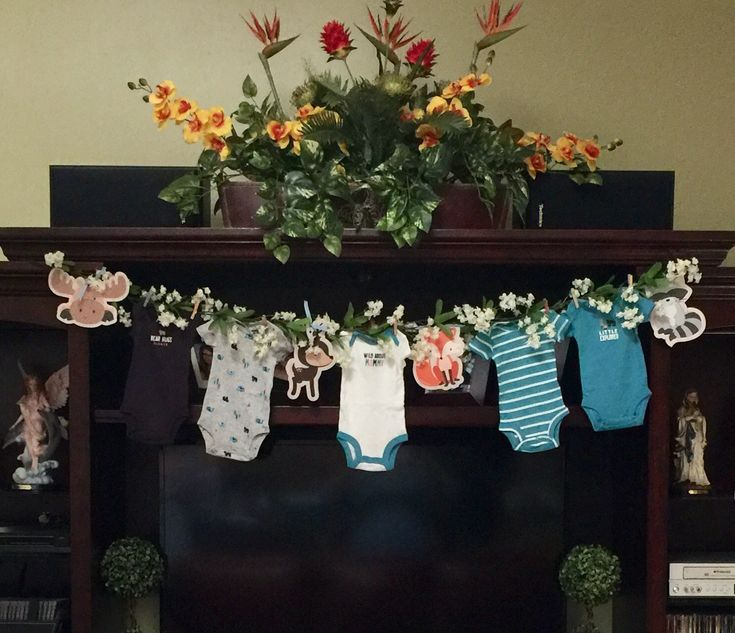 woodland baby shower theme clothes line banner