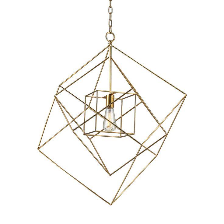 Dimond Lighting Neil 1 Light Box Pendant In Gold Leaf