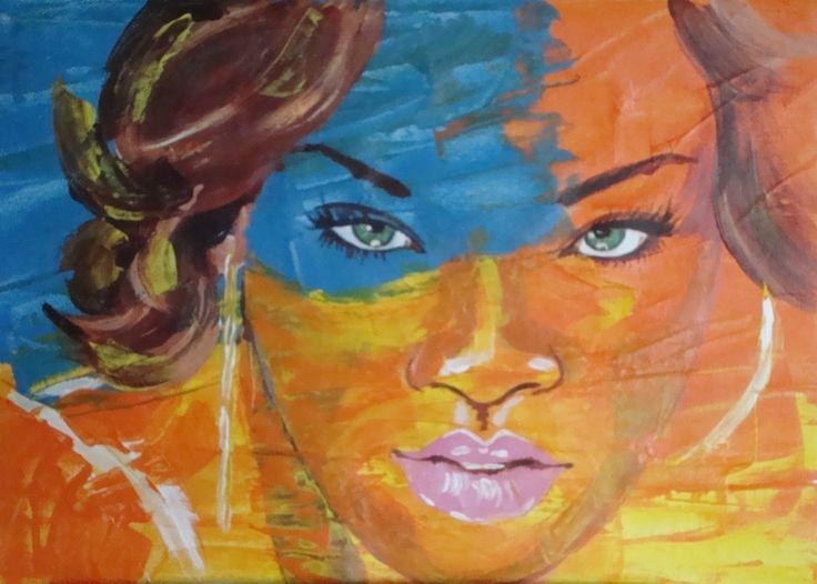 """Pintura en acrilico,  Estilo: """"Realidad Espontanea""""   Titulo: Ojos verdes,  Autora: A. Abansés"""
