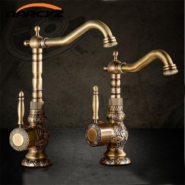 Basin Faucets Antique Brass Bathroom Faucet Basin Carving Tap Rotate Single Handle Hot and Cold Water Mixer Taps Crane XT940 - ICON2 Luxury Designer Fixures  Basin #Faucets #Antique #Brass #Bathroom #Faucet #Basin #Carving #Tap #Rotate #Single #Handle #Hot #and #Cold #Water #Mixer #Taps #Crane #XT940
