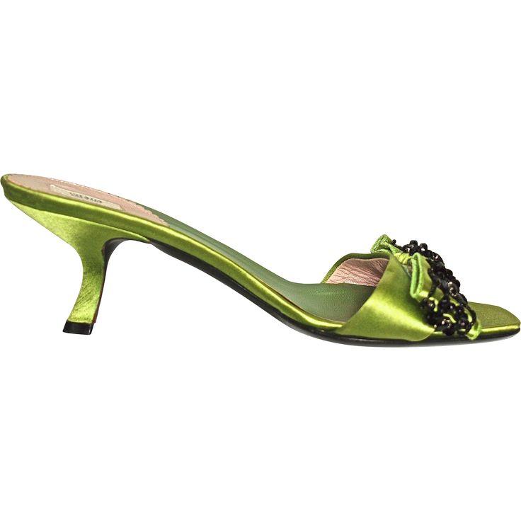#VintageBeginsHere at www.rubylane.com @rubylanecom --PRADA Italian Mules - Size 37-1/2 (US 7) - Black Beads on Lime Green Silk Satin - 2-1/2 in. Shoe Heel Height