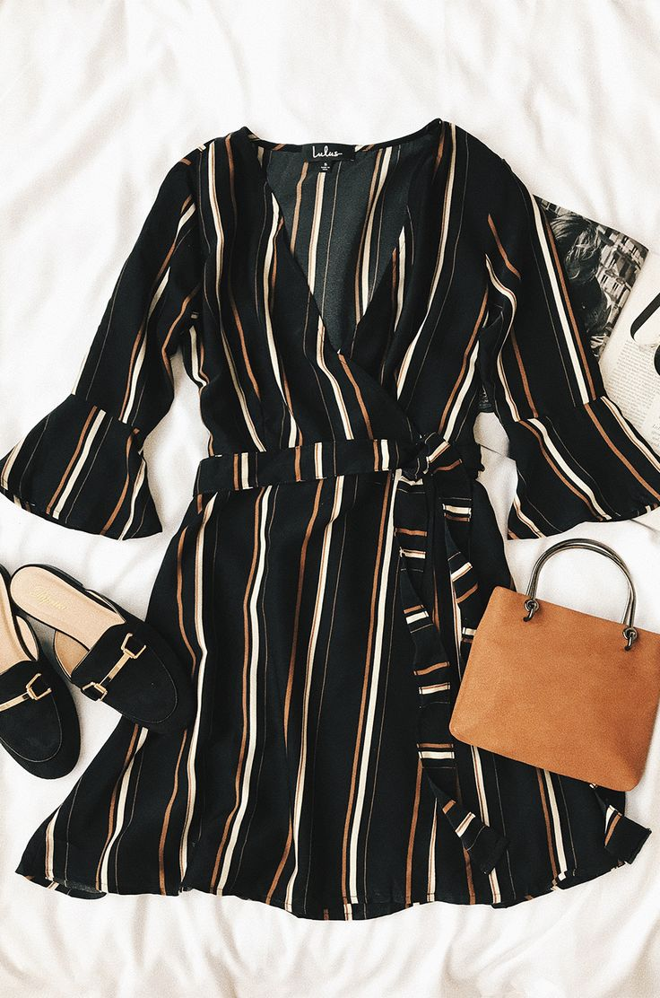 Gone to Geneva Black Striped Wrap Dress