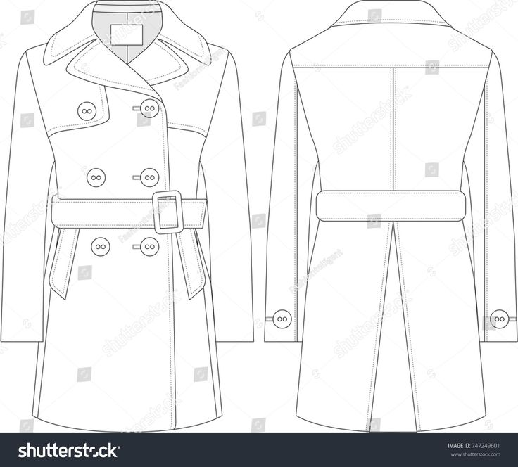 Double Breasted Coat Technical Drawing #fashionflats #trenchcoat #peacoat