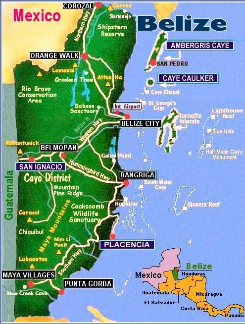 Map of Belize. Go to www.YourTravelVideos.com or just click on photo for home videos and much more on sites like this.
