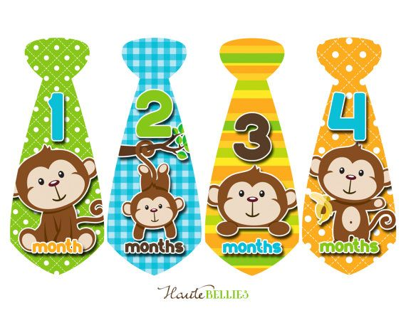 Monthly Baby Stickers Tie Baby Boy Baby Month by HauteBelliesShop, $10.00