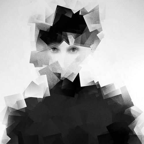 Portrait photo with juxtapose  shapes and tones. Linked to cubism or geometric shapes with a composition.