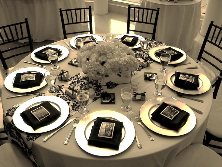 25th wedding anniversary party ideas black white table setting wedding miami catering palmetto bay village center silver
