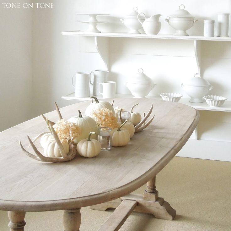 Tone On Shop Belgian Bleached Dining Table In Front Of A Wall Ironstone China I Created Centerpiece Using Lumina And Baby Boo White Pumpkins