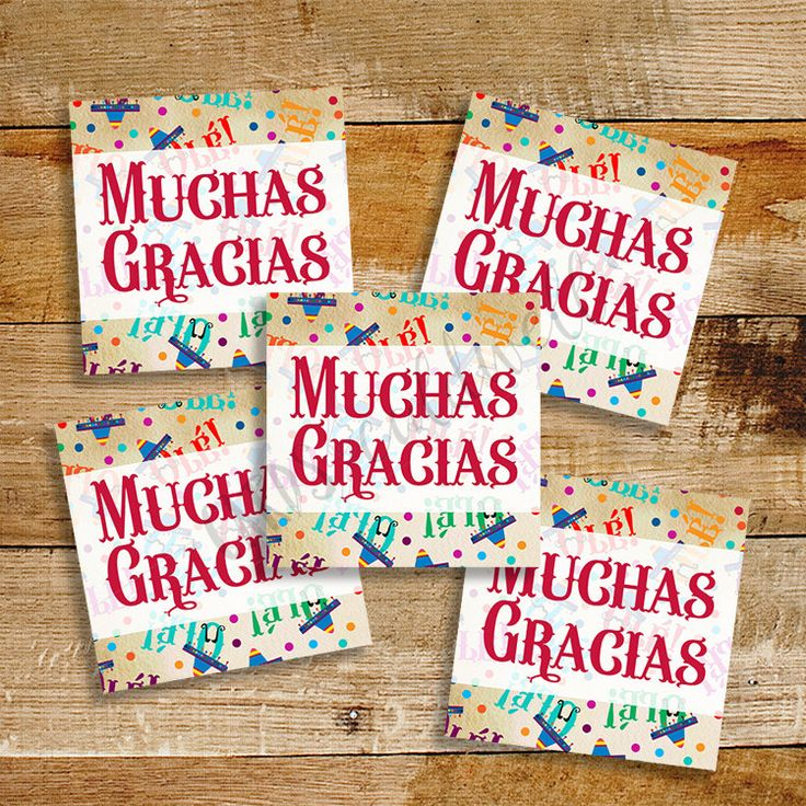 Fiesta Thank You Tags Muchas Gracias Instant Download