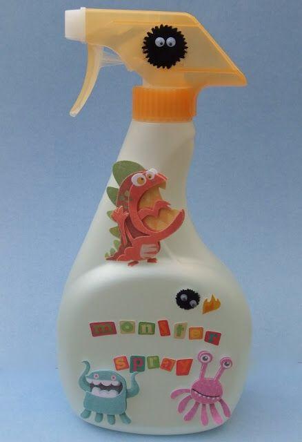 """mit einer leeren Sprühflasche und ein paar Aufklebern ein """"Monster-Spray"""" herstellen, das die nächtlichen Sorgen Deiner Kinder in Luft auflöst"""